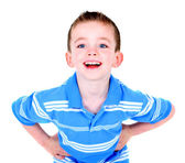 Handsome happy boy with hands on hips — Stock Photo