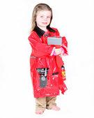 Toddler girl in firefighter costume — Stock Photo