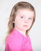 Pretty toddler girl portrait on white — Stock Photo