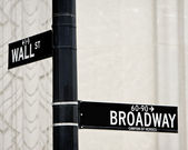 Wall St and Broadway street sign — Stock Photo