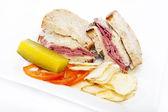 Corned beef reuben sandwich — Stock Photo