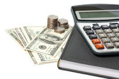 Cash and calculator — Stock Photo