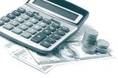 Miniräknare och dollar — Stockfoto