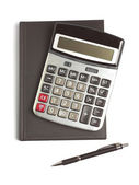 Calculator, pen and diary — Stock Photo