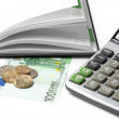 Cash, calculator, open diary — Stock Photo #9845587