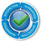 Satisfaction guaranteed blue — Stock Vector