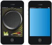 Modern black smart phones similar to iphone — Stock Vector