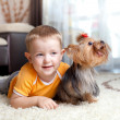 Little boy playing and hugging loving dog york — Stock Photo