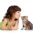 Funny child playing and kissing Scottish kitten — Stock Photo #10303162