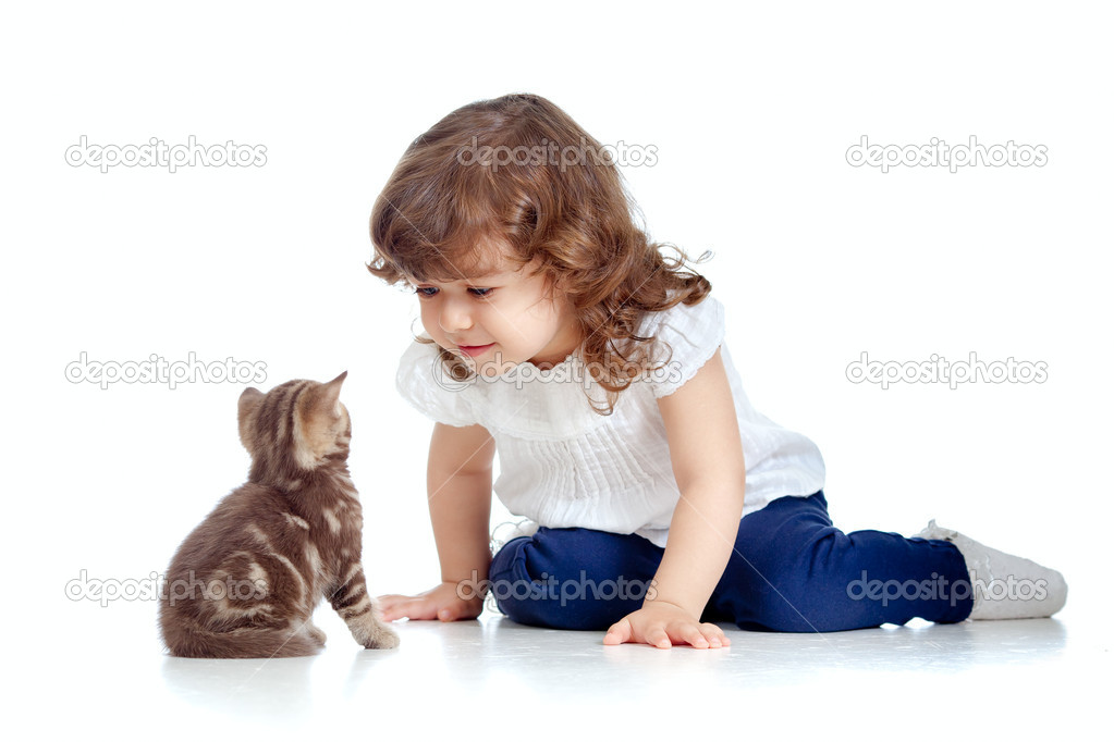 Funny child sitting on floor. Scottish kitten looking at girl. — Stock Photo #10311008