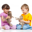 Stock Photo: Cute children playing with kittens. Isolated on white background