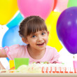 Joyful beautiful girl celebrating birthday party — Stock Photo