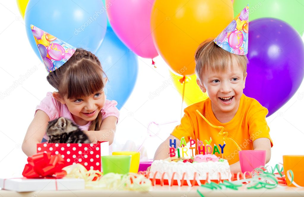 Happy children celebrating birthday party with opening gift box — Stock Photo #10488269