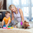 Mother, child boy and pet dog playing together indoor — Stock Photo #10661211