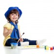 Funny artist girl kid drawing and painting — Stock Photo