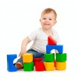 Little boy playing with building blocks — Stock Photo #8718134