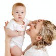 Portrait of loving mother and her child on white background — Stock Photo