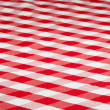 Red checked fabric tablecloth — Photo