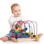 joli bébé avec jouet éducatif de couleur — Photo