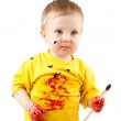 Young artist child with brush — Stock Photo