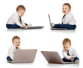Set of cute child using laptop — Stock Photo