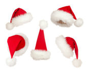 Set of Christmas Santa hats — Stock Photo