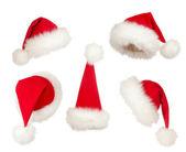 Verzameling van kerstmis santa hoeden — Stockfoto
