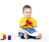 Young artist child with paints — Stock Photo