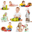 Foto Stock: Cute children with healthy food apples. Isolated on white backgr