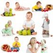 Cute children with healthy food apples. Isolated on white backgr — ストック写真