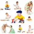Stock Photo: Children painting and drawing pencils isolated on white backgrou