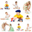 Children painting and drawing pencils isolated on white backgrou — Stock Photo