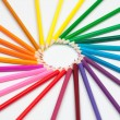 Set of color pencils in shape of sun — Stock Photo
