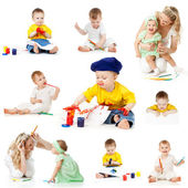 Children painting and drawing pencils isolated on white backgrou — Стоковое фото