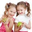 Two girls with green apple healthy food — Stock Photo
