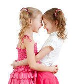 Smiling and hugging cute girls, best friends. — Stock Photo