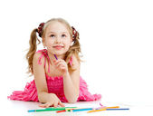 Dreamy girl with pencils — Stock Photo