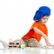 Young artist child with paints and brush — Stock Photo