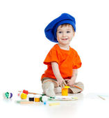 Small artist child with paints — Stock Photo