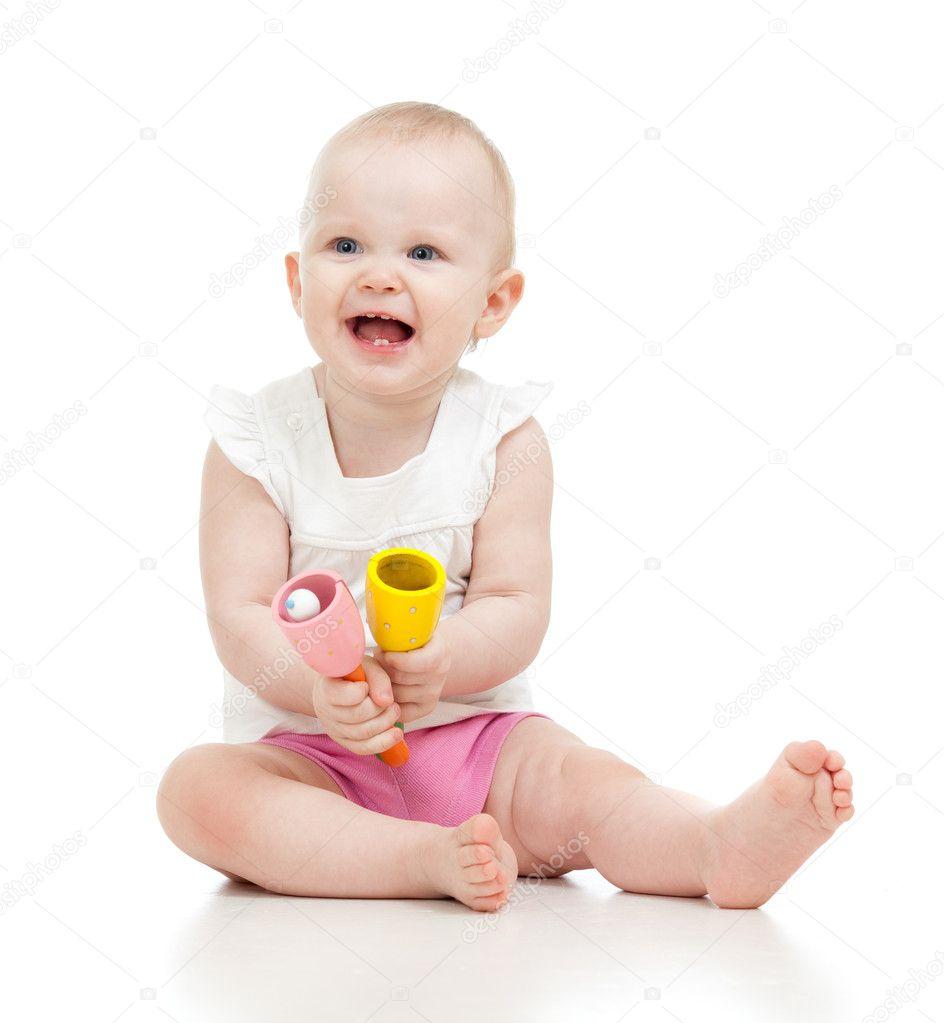 孩子玩音乐玩具 — 图库照片