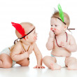 Two funny little children. Isolated on white background — Stock Photo
