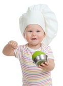 Funny child with green apples healthy food — Stock Photo
