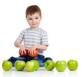 Child with healthy food apples — Stock Photo