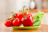 Healthy food fresh vegetables in plate on the table. — Stock Photo