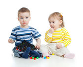 Children playing with mosaic toy. Concept for health hazard to — Stock Photo