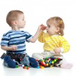 Children playing with  mosaic toy — Stockfoto