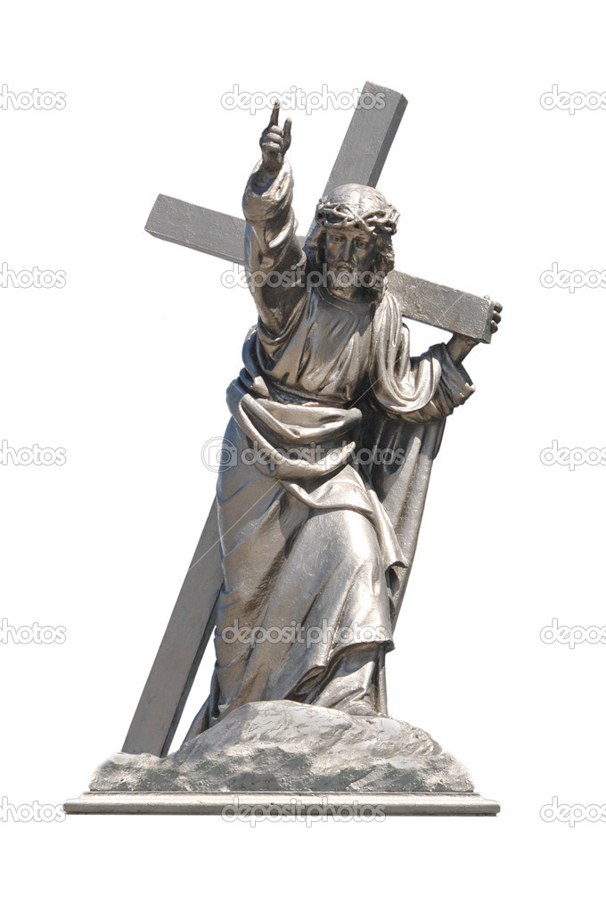 Statue of Jesus Christ with cross isolated on white background — Stock Photo #10212157