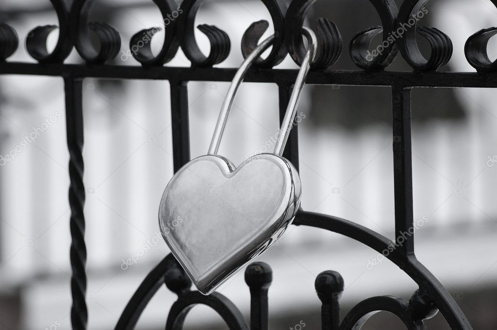 Black & White Heart Lock  Stock Photo #8675073