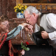 Stock Photo: Old-fashioned kiss