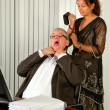 Strangling the boss — Stock Photo